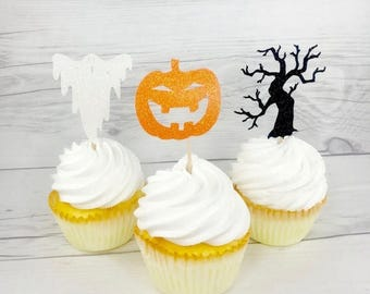 ON SALE Halloween Cupcake Toppers, Halloween Theme, Pumpkin Toppers, Halloween Party, October Birthday, Pumpkin Theme, Ghost Cupcake Topper