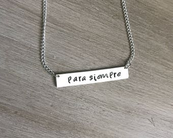 Sterling silver bar necklace, forever bar necklace, para siempre bar necklace, necklace for wife, gift for wife, necklace for girlfriend