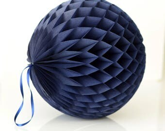 Navy blue Tissue paper honeycomb ball-hanging wedding party decorations-paper lantern-birthday decor-round paper ball-nursery decor