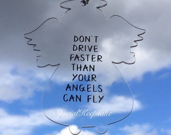 Acrylic Clear Angel Car Rear View Mirror Hanger Dont Drive Faster Than Your Angels Can Fly Guardian Angel Safety New Driver Passed Driving