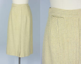 Vintage 1940s Skirt | 40s 50s Cute Yellow and Grey Wool Pencil Skirt | Extra Small