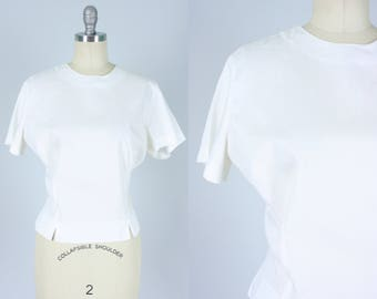 Vintage 1950s Blouse | Simple White Button Back Blouse | Large