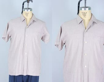 "Vintage 1950s Men's Shirt | Casual Short Sleeved Light Brown and White ""Custom Tailored"" Shirt 