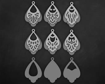 Faux leather earrings Set, Tear drop Pendant laser cut templates, Double Layered style Cutting File / SVG Cricut maker / Silhouette Cameo