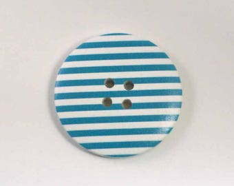 Button blue and white striped wood 4 cm