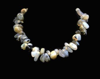 Natural Polished Stone Choker Necklace, Neutral Colors