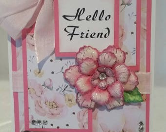 Unique 3D handmade  handcrafted  Hello Friend greeting card with a twist!