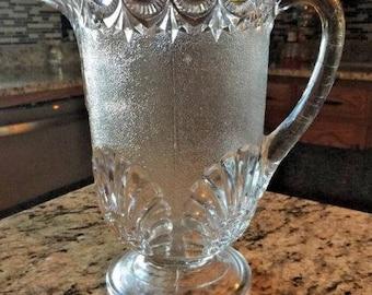 Early American Pressed Glass Shells & Jewells Pattern Water Pitcher.  ID# 22-2