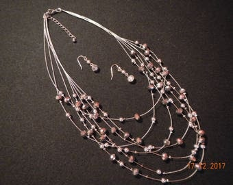Sparkling 7-strand Silver-tone Black/Silver Faceted Glass Beaded Wire Necklace/Earrings
