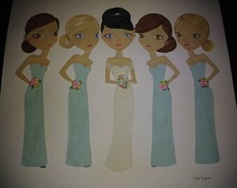 Wedding bride and bridesmaids.