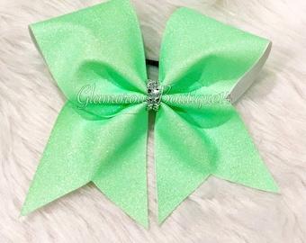 Glitter Neon Green Cheer Bow