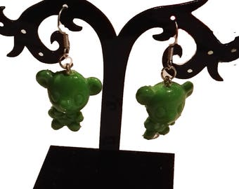 light green bear earrings