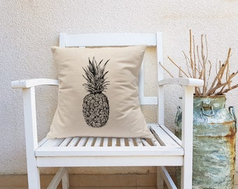 Pineapple Decorative Pillow, Pineapple Square Pillow, Teen Room Decor, Throw Pillow, Natural Canvas Pillow, Square Cushion, Christmas Gift