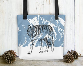 Shoulder Tote Bag, Wolf Bag, Carry All Bag, Blue White Bag, Library Bag, Bags And Purses, Beach Bag, Bag For Woman, Gift Under 30