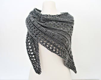 Gray knitted shawls Hand knit shawl Wool knitted wrap Hand knit shawlette Hand knitted shawls Valentines gift for girlfriend Best gift shawl
