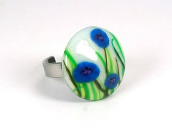 Cornflower blue polymer clay and stainless steel ring