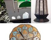 Mosque lantern for 3 tealights and mandala clock 9.45 and Samara black and white