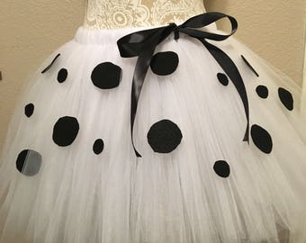 Halloween Tulle Costume, 101 dalmations, adult, teen, plus size