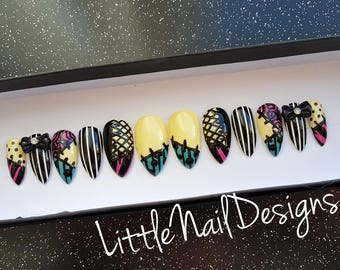 Jack Skellington and Sally Nightmare Before Christmas Hand Painted False Nails | Little Nail Designs