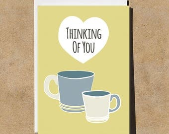 Thinking of You - Tea- Illustrated & Hand-drawn Stationery - Made in UK - Sympathy - Love - Greetings - Birthday - Blank
