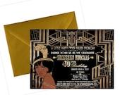 DIGITAL FILE, Gatsby Themed Wedding, Birthday Invitation, Great Gatsby party decor.   Flapper Invitation, Gatsby Invite, Harlem Nights