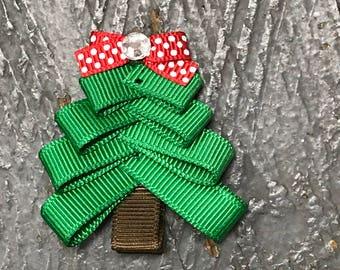 Hair Clip Ribbon Sculpture Headband Bow Winter Holiday Christmas Tree