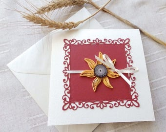 Handmade sunflower wedding invitations/Burgundy invitations/Elegant wedding invitations/Doily wedding invitations/
