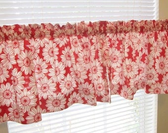 Red and white kitchen valances, modern valances, handmade valances, big flowers, kitchen windows, bathroom windows