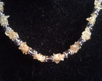 Citrine and Amethyst Beadwoven Necklace and Bracelet Set, #523