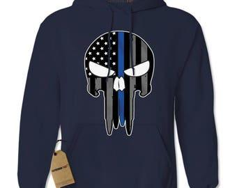Police Thin Blue Line Skull American Flag - Support Police Departments Adult Hoodie Sweatshirt