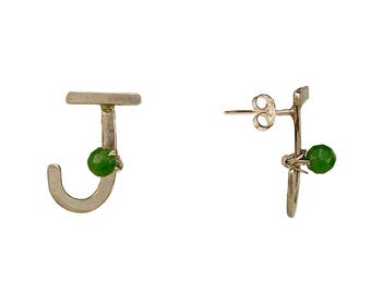 Alphabet letter stud earring, personalized initial, handmade monogram, green jade stud, bridesmaid gift, capital letter stud, silver earring