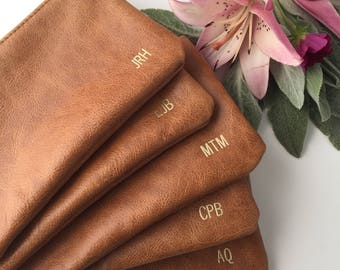 Monogrammed Bridesmaid Clutch // Leather Clutch// Leather Pouch // Leather Makeup Bag