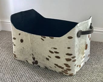 Cowhide magazine tote,  magazine basket, storage basket, hair on hide, home and living.