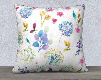 Flower Pillow Covers, Colorful Spring Pillow Cover, Nursery Pillows Girl, Nursery Pillow Cover, Watercolor Pillow, White Floral Pillow cover