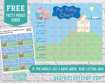Printable Peppa Pig Potty Training Chart, FREE Punch Cards | JPG Files, Instant download