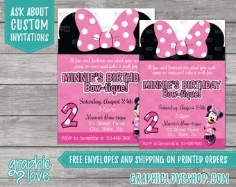 Pink Disney Minnie Mouse Bowtique Inspired Personalized Birthday Invitations | Any Age, 4x6 or 5x7, Digital File or Printed