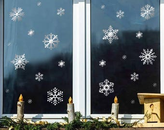 24 Christmas Snowflakes Graphic Stickers_Silver