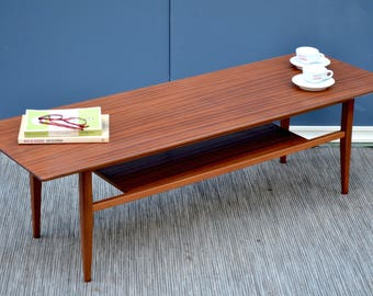 Vintage Danish two tear teak coffee table. Delivery. Modern / midcentury style.