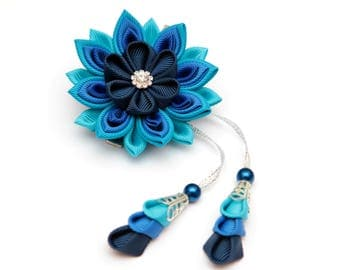 Shades of blue Kanzashi  flower hair clip. Japanese hair clip. Kanzashi hair flower.  Japanese Fabric Flower Clip. Kanzashi with falls