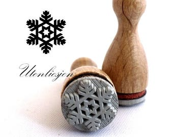 Stamp mini, snowflake no.1, winter, ice crystal, rubber stamp Ø 11 mm
