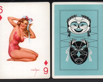 Alberto Vargas 1950's Vargas Girl Playing Card Swap Card 6 OF DIAMONDS Near Mint / Mint