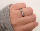 Antique  Vintage  Diamond and Emerald Platinum Eternity Ring  Wedding band  Size UK O  US 7