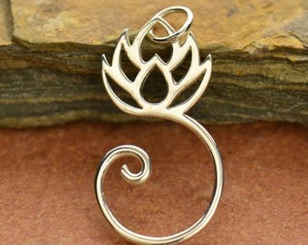 Sterling Silver, Lotus Charm, Charm Holder, Silver Lotus Charm, Lotus Pendant, Lotus Flower, Silver Lotus Flower, Lotus Jewelry