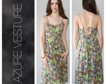 1970s Summer Dress, Beach dress, Ditsy print, Floral Low Back, Backless dress. Medium