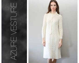 60s Sweater Dress. XS Small.   1960s Vintage Cable Knit Day Dress.