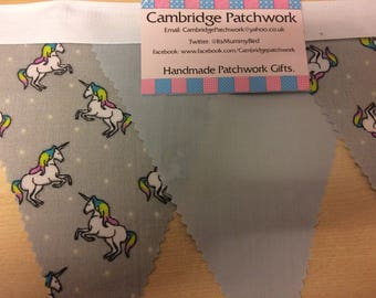 Grey Unicorn and Grey Cotton Fabric Bunting per metre