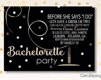 Bachelorette Party invitation, before she says i do invitation, printable bachelorette invite, invite for girls night out, invite