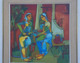 1976 Colorful Cubist  Abstract  Oil On Canvas Painting Signed By Listed  Artist  Talkar  E. R .