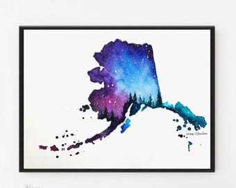 Alaska Map, Map art, Art Prints, Watercolor Painting, Illustration art, Galaxy art, State Print, Map gifts, Map print, Long Distance gift