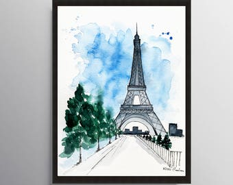 Eiffel Tower, Paris Print, Paris Poster, Illustration, Travel art, Architecture art, Cityscape, Wall art, Art Print, City print, City art